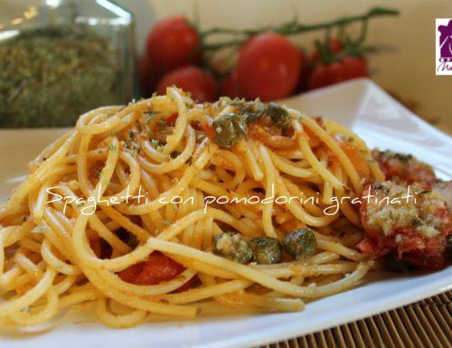 Spaghetti con pomodorini gratinati