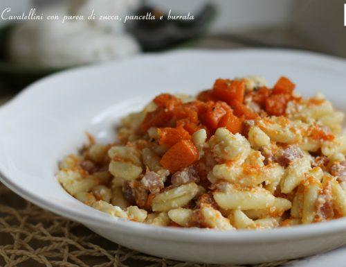 Cavatellini con purea di zucca, pancetta e burrata, ricetta Basilicata