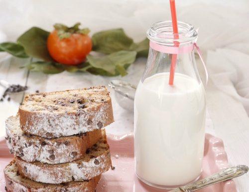 Plumcake con polpa di cachi e gocce di cioccolato fondente, ricetta con e senza Bimby