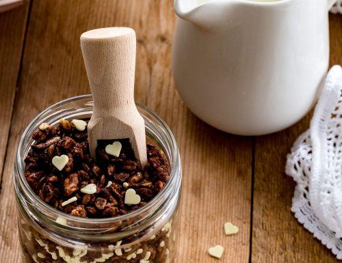 Granola al cioccolato con cocco, noci e cioccolato bianco